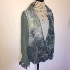 Jade Green Faded Paisley Boho Slouchy Blouse